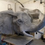Elephant head. Realistic 3D animal sculpture by British artist Kendra Haste