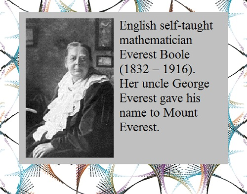 Everest Boole (1832, Wickwar, Gloucestershire – 1916).