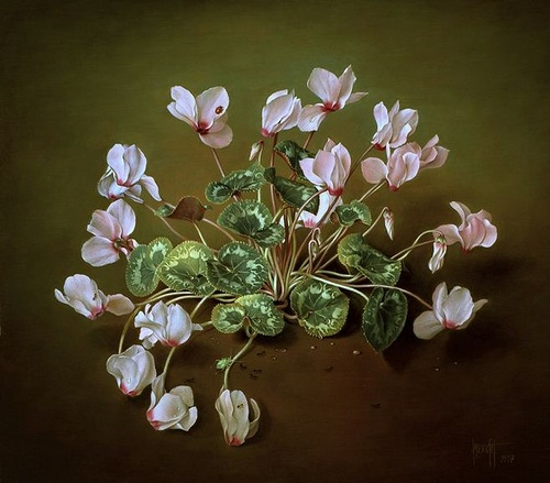 Forest pink cyclamen, painting by Spanish artist Jose Escofet