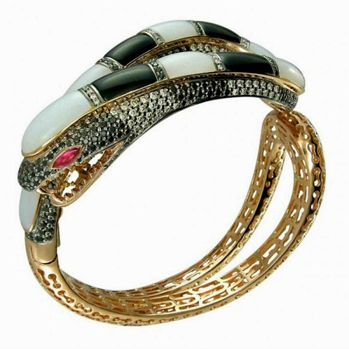 Gemstone and diamond bangle by Zorab