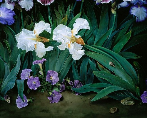 Irises, painting by Spanish artist Jose Escofet