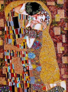 Kiss stained glass painting, inspired by Klimt