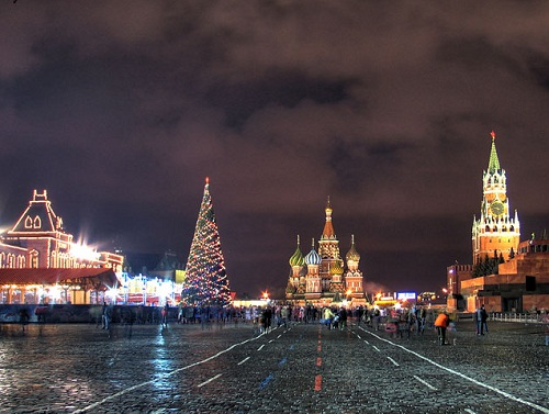 Festive square. New Year's day and Christmas celebration at Kremlin Palace