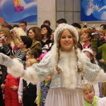 Beautiful Snow maiden. New Year's day and Christmas celebration at Kremlin Palace