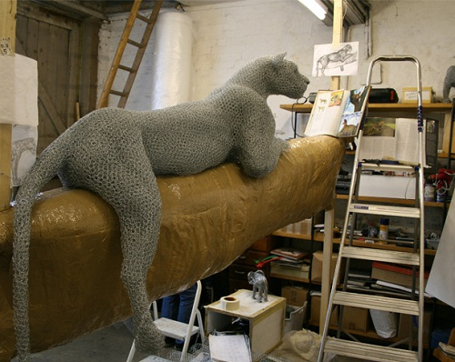 Leopard. Realistic 3D animal sculpture by British artist Kendra Haste