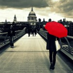 Red umbrella. London captured and edited on mobile phones, with smartphone app Instagram