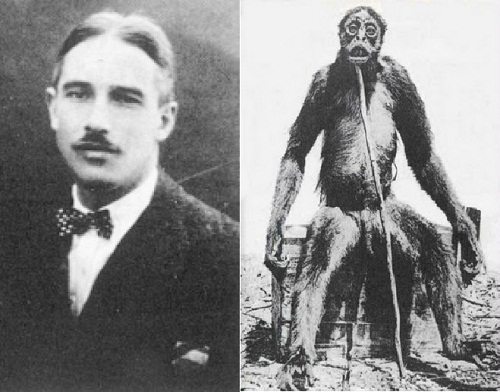 Louis Francois Fernand Hector de Loys and unknown primate in 1920 during an oil survey expedition in Venezuela.