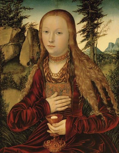 Lucas Cranach the Elder (1472–1553) St. Barbara in a wooded landscape. Date 16th century