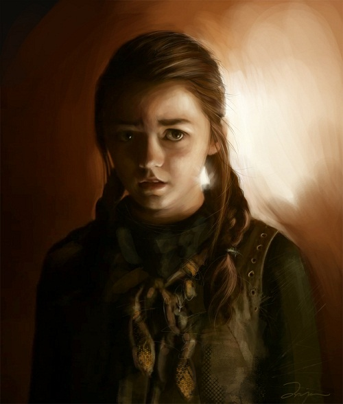 Maisie Williams as Arya Stark, Game of Thrones fan art. Digital art by Ania Mitura