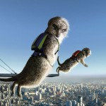 May - Two meerkats give the camera a cheeky look as they freefall over a busy city