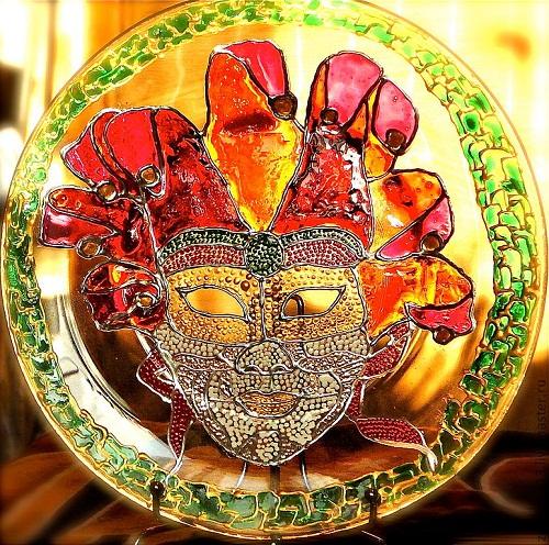 Carnival mask. Stained glass painting by Tatyana Zinkovskaya