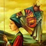 Fantasy painting. Girl with a fish. Artist Boris Shapiro, Israel