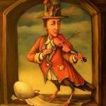 Surreal painting. A man violin player on bird legs. Painting by Boris Shapiro, Israel