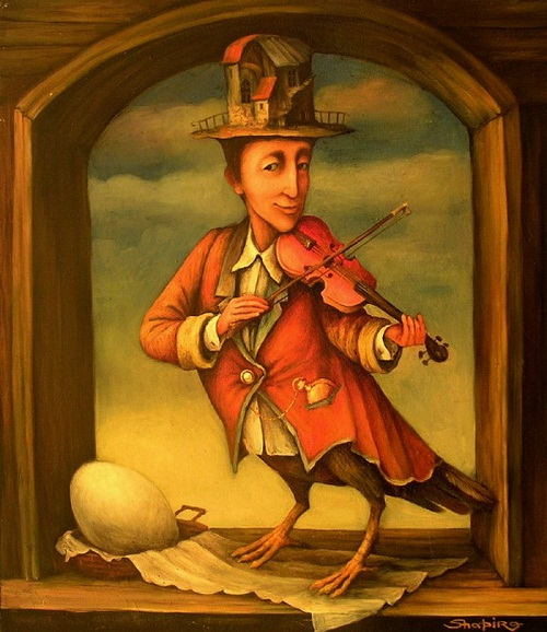 Surreal painting. A man violin player on bird legs. Painting by Boris Shapiro, Israel