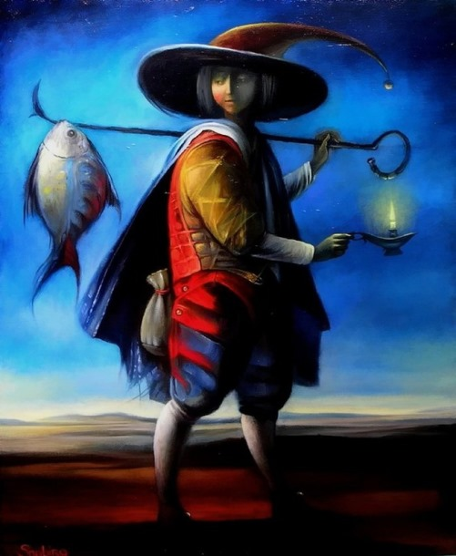A fisherman. 17th century people in portraits of Israeli artist Boris Shapiro