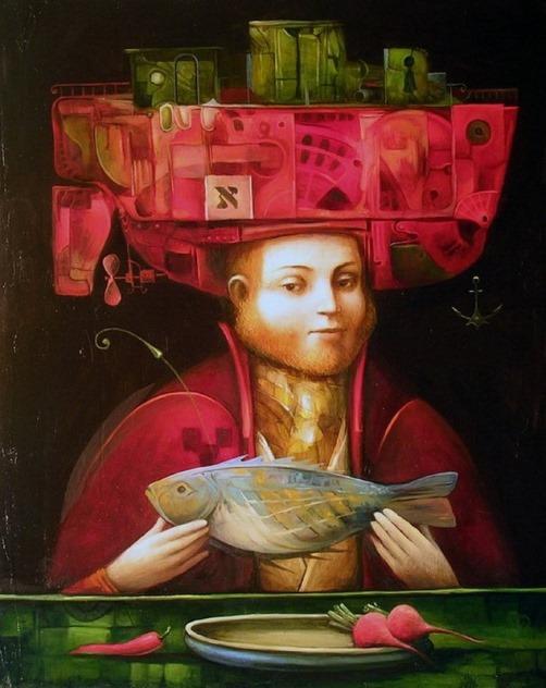 Supper. Surreal painting by Boris Shapiro, Israel