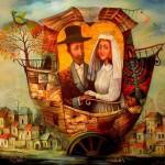 Wedding ship. Surreal world in painting by Boris Shapiro, Israel