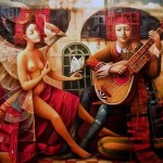 A muse and a musician. 17th century people in painting of Boris Shapiro, Israel