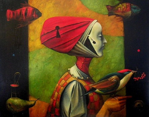 Lady with birds. Beautiful painting by Boris Shapiro, Israel