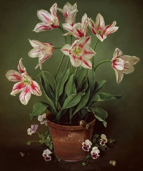 Pansies and Tulips, painting by Spanish artist Jose Escofet