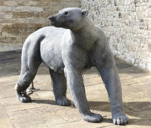 Polar bear. Realistic 3D animal sculpture by British artist Kendra Haste