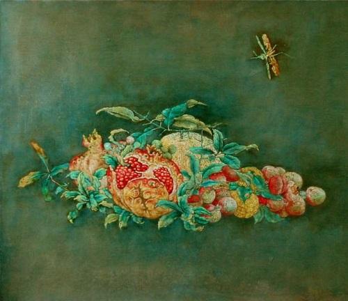 Pomegranate. Beautiful painting by Chinese mixed media artist Liu Hong Yuan