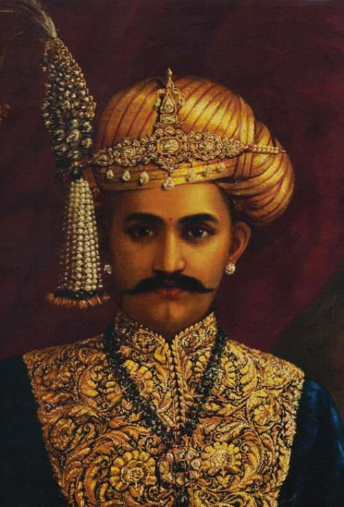 Portrait of Sri Chamarajendra Wadiyar in the suit embroidered with Zardozi