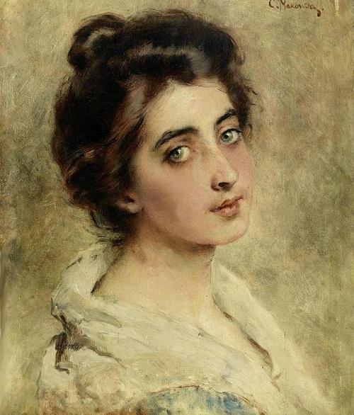 Portrait of a Girl by Russian artist Konstantin Makovsky