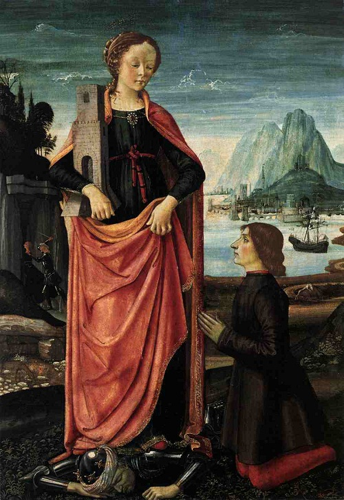 St Barbara Crushing her Infidel Father, with a Kneeling Donor Domenico Ghirlandaio (1449–1494). Date circa 1473