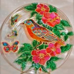 A bird. Stained glass painting by Tatyana Zinkovskaya