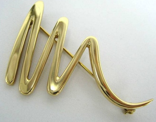 Tiffany Paloma Picasso Scribble 18K Gold Brooch