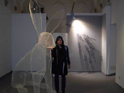 Large hare. Transparent 3D sculpture by Italian artist Benedetta Mori Ubaldini