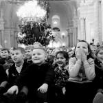 Happy Soviet children. USSR Kremlin tree, archive photo