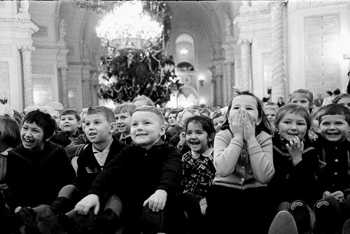 Happy Soviet children. USSR Kremlin tree, archive photo
