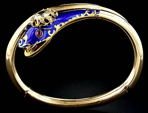 Victorian Diamond and Enamel Serpent Bracelet