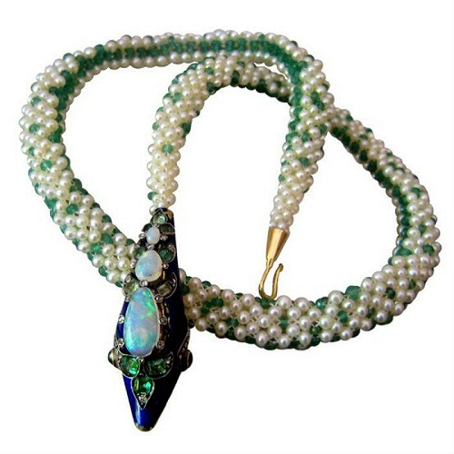 Victorian Snake Emerald Bead and Pearl Necklace
