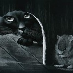 A night hunt. A black cat at the mouse hole. Inspired by cats Russian artist Irina Garmashova (Garmashova-Cawton)