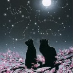 Moonlight couple. Inspired by cats Russian artist Irina Garmashova (Garmashova-Cawton)