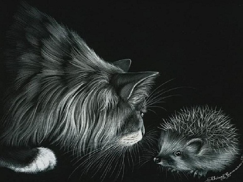 Meeting of a cat with a hedgehog. Inspired by cats Russian artist Irina Garmashova (Garmashova-Cawton)
