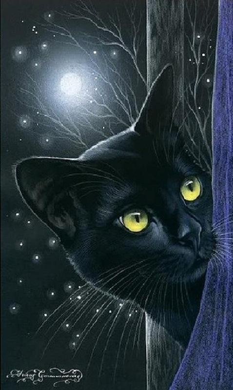 Hiding behind the corner black cat. Painting by St. Petersburg artist Irina Garmashova (Garmashova-Cawton)