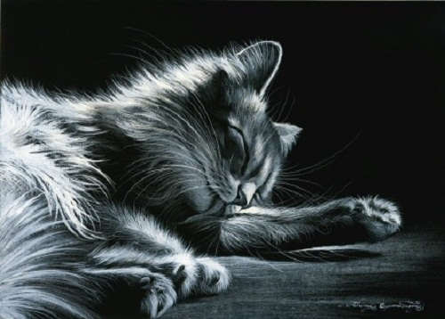 Taking a nap cat. Inspired by cats Russian artist Irina Garmashova (Garmashova-Cawton)