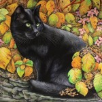 A black cat in autumn leaves. Painting by Russian artist Irina Garmashova (Garmashova-Cawton)