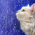 A white cat on a blue background. Inspired by cats Russian artist Irina Garmashova (Garmashova-Cawton)
