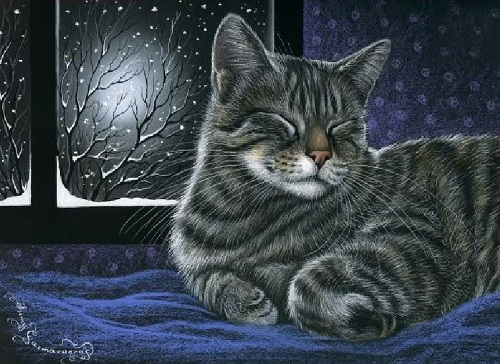 It's winter time. A cat sleeping on the window. Inspired by cats Russian artist Irina Garmashova (Garmashova-Cawton)