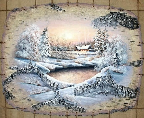 Painting on birch bark by Sergey Surin