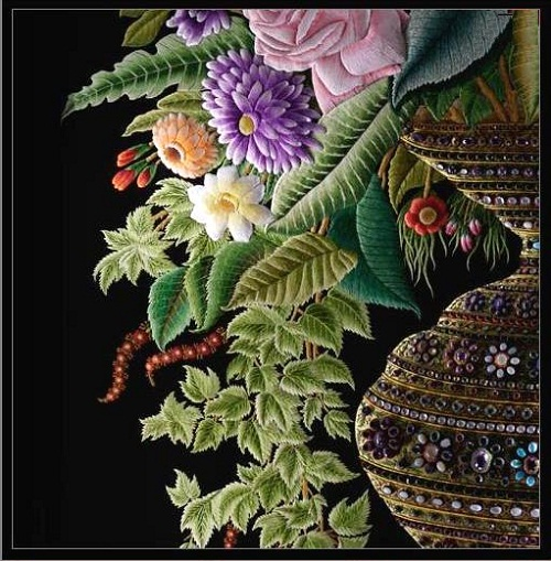 Left part, bouquet, embroidery by Sheikh Shams Uddin