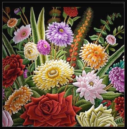Stunningly beautiful work of art – bouquet, embroidery by Sheikh Shams Uddin