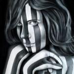 Stripes. Portrait of a girl