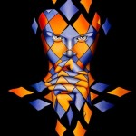 Harlequin Thought. Beautiful painting by Italian artist Danilo Martinis