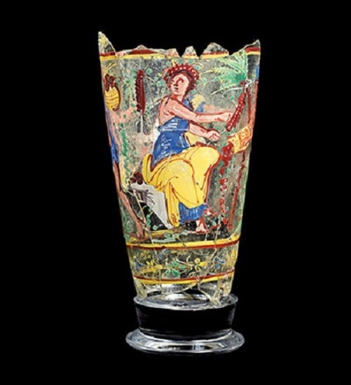 Painted glass cup from Bagram. It depicts scenes of harvesting, 1-2 century a.d.